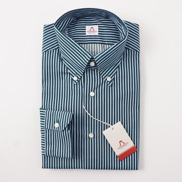 Mattabisch Cotton Shirt in Green and Sky Blue Stripe