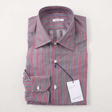 Mattabisch Cotton Shirt in Navy and Red Stripe