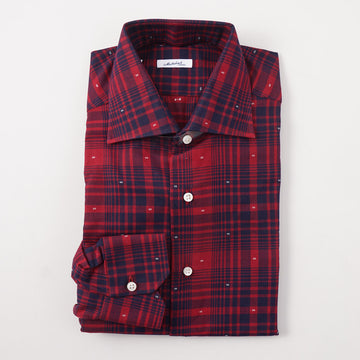 Mattabisch Cotton Shirt in Red and Navy Check