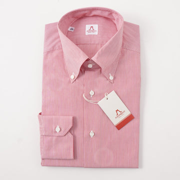 Mattabisch Cotton Shirt in Red Micro Stripe