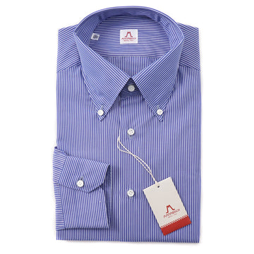 Mattabisch Cotton Shirt in Blue and White Stripe