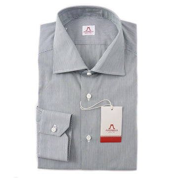 Mattabisch Cotton Shirt in Green Micro Stripe