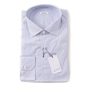 Mattabisch Cotton Shirt in Sky Blue Grid Check - Top Shelf Apparel