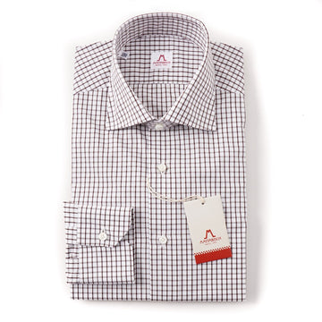 Mattabisch Cotton Shirt in Brown and White Check - Top Shelf Apparel