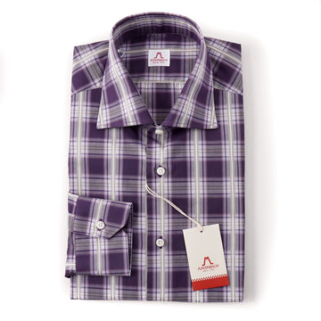 Mattabisch Cotton Shirt in Plum Purple Check - Top Shelf Apparel