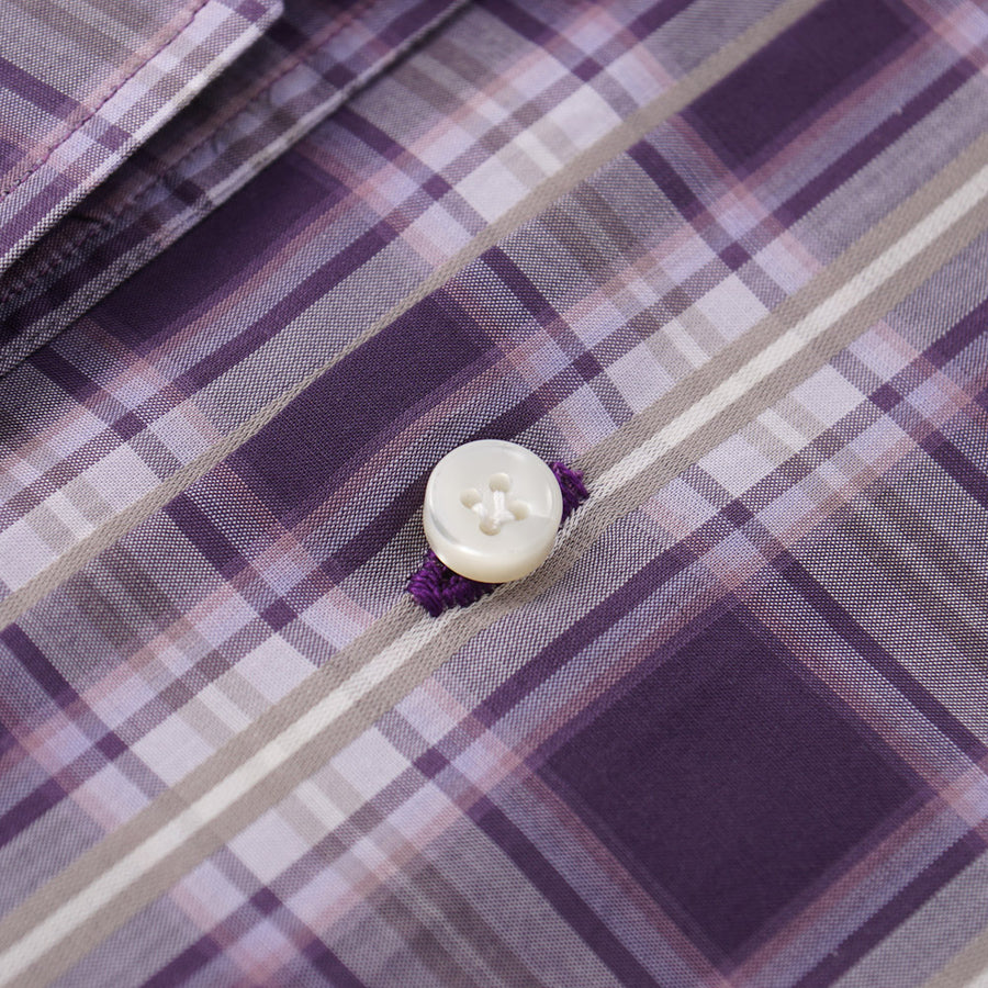 Mattabisch Cotton Shirt in Plum Purple Check