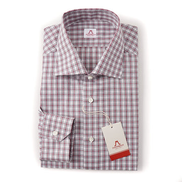 Mattabisch Soft Cotton Shirt in Gray and Burgundy Check