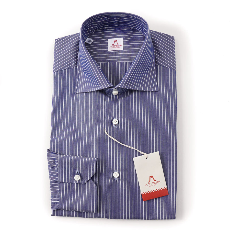 Mattabisch Cotton Shirt in Slate Blue Stripe - Top Shelf Apparel