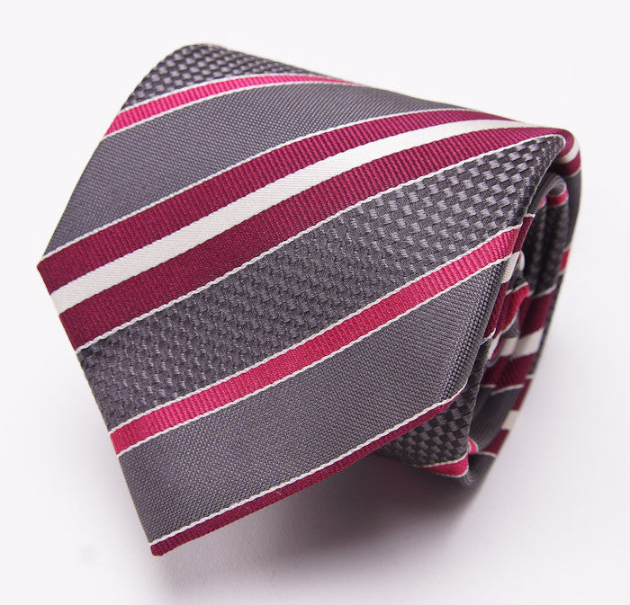28f90e8ef76392 Mattabisch Charcoal-Raspberry Stripe Necktie. Mattabisch Charcoal-Raspberry  Stripe Necktie - Top Shelf Apparel ...