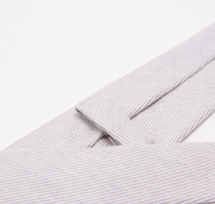 Mattabisch Heather Gray Merino Wool Necktie - Top Shelf Apparel - 3