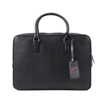 Isaia Black Saffiano Leather Briefcase
