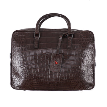 Isaia Chocolate Brown Crocodile Slim Briefcase