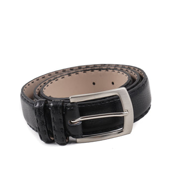 Kiton Calf Leather Belt in Grained Black