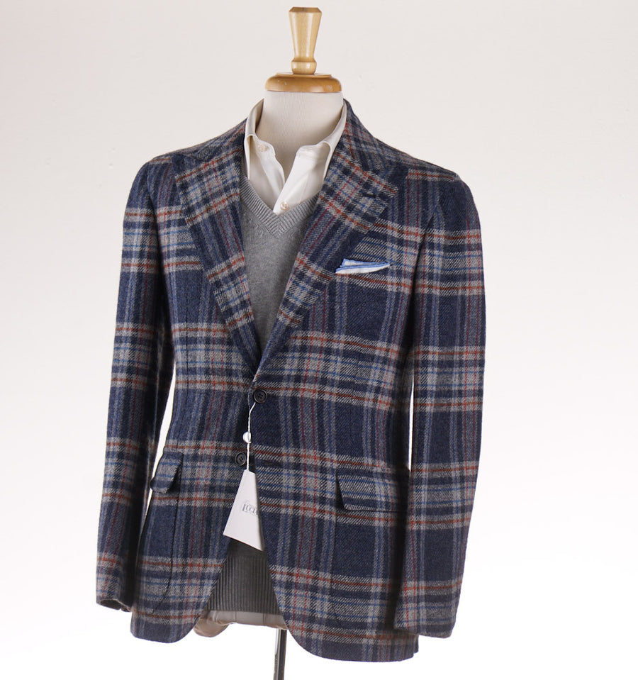 Orazio Luciano Wool Sport Coat in Slate Blue Check - Top Shelf Apparel