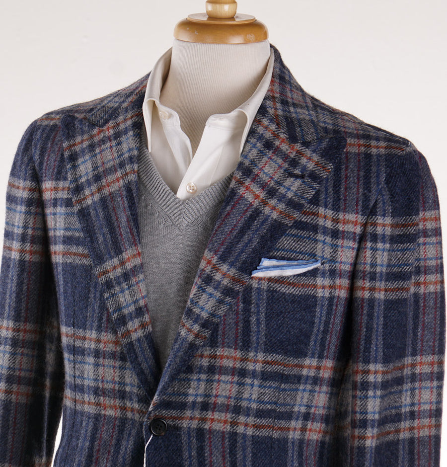 Orazio Luciano Wool Sport Coat in Slate Blue Check