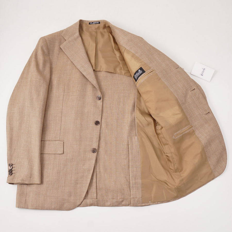Orazio Luciano Wool-Silk-Linen Sport Coat in Tan Herringbone - Top Shelf Apparel