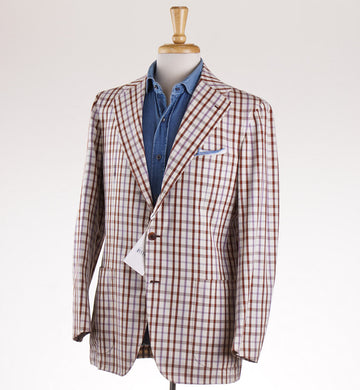 Orazio Luciano Cotton Sport Coat in Brown and Purple Check