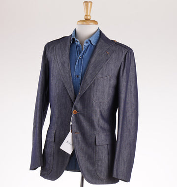 Orazio Luciano Indigo Twill Denim Blazer - Top Shelf Apparel
