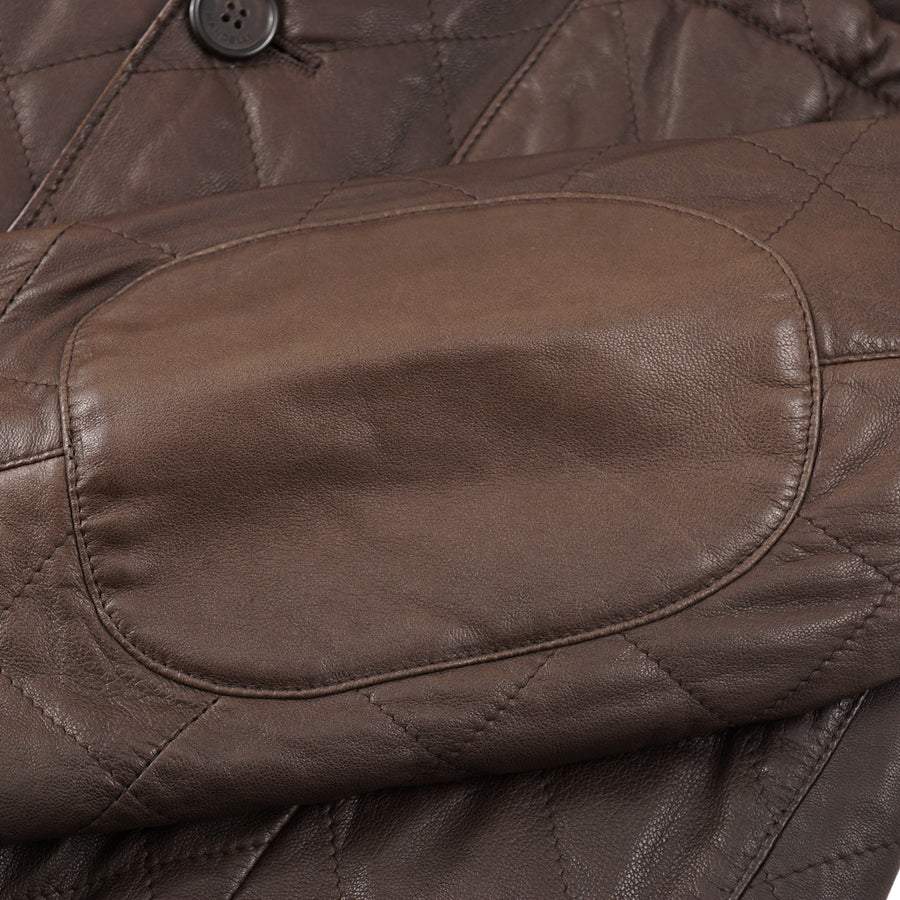 Mandelli Quilted Brown Leather Jacket