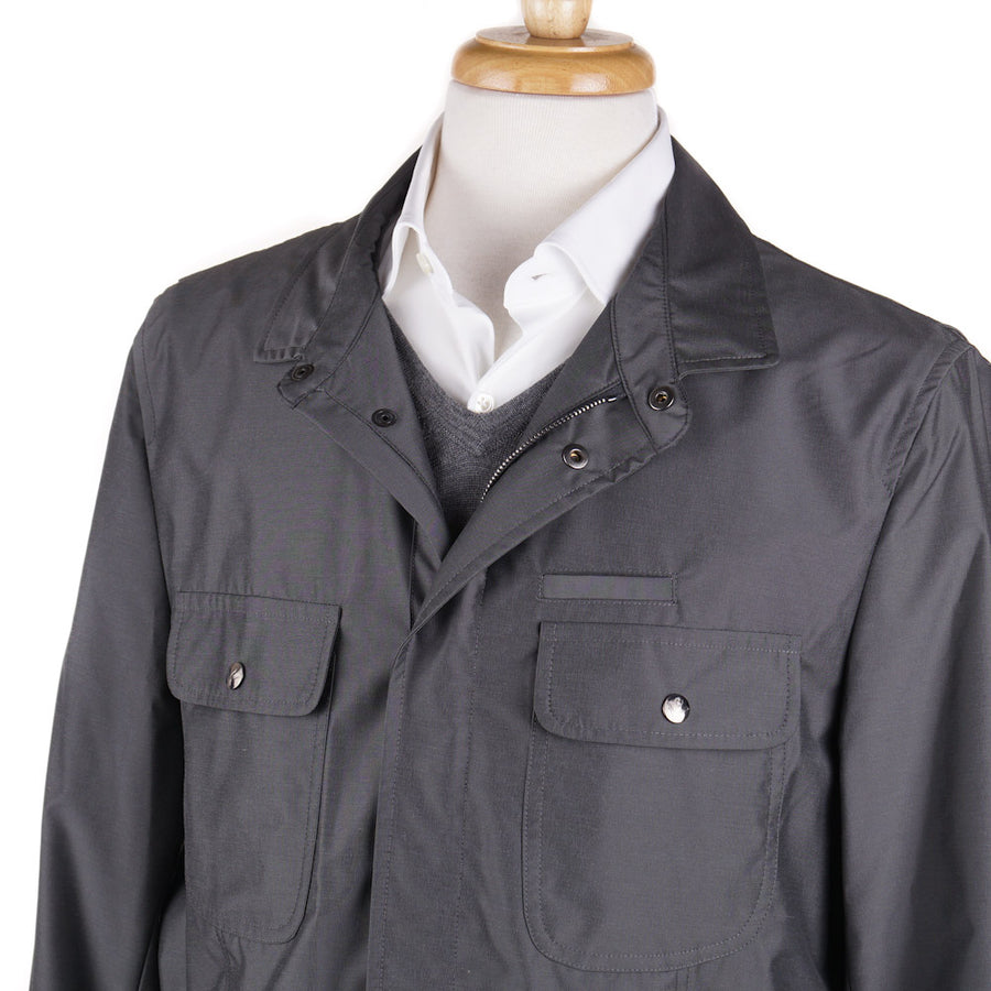 Isaia Weather-Repellent Field Jacket in Steel Gray