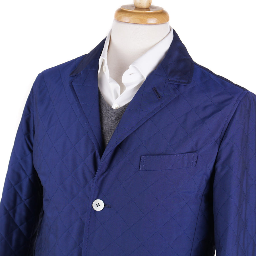 Isaia Water-Repellent Quilted Jacket in Royal Blue - Top Shelf Apparel