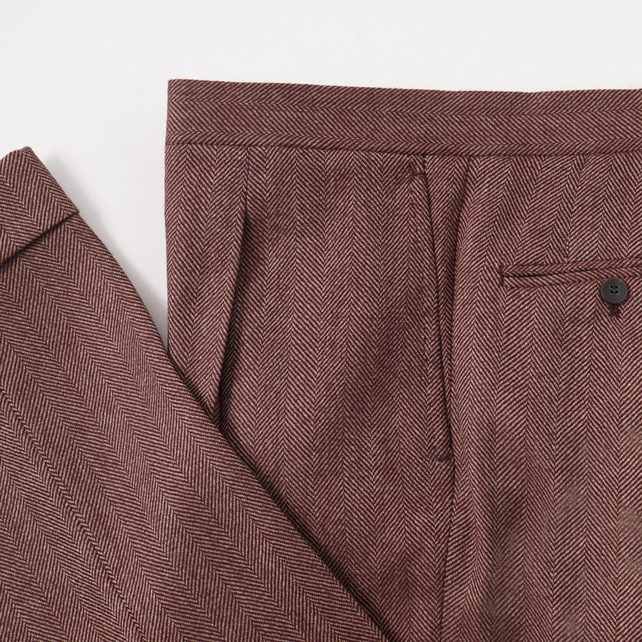 Orazio Luciano Burgundy Herringbone Wool Suit - Top Shelf Apparel