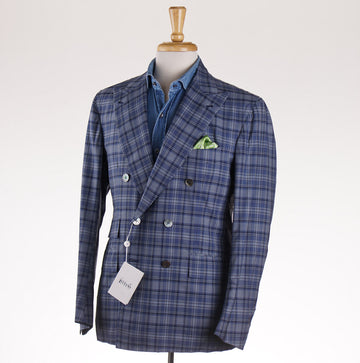 Orazio Luciano Lightweight Wool-Silk Sport Coat in Blue Plaid