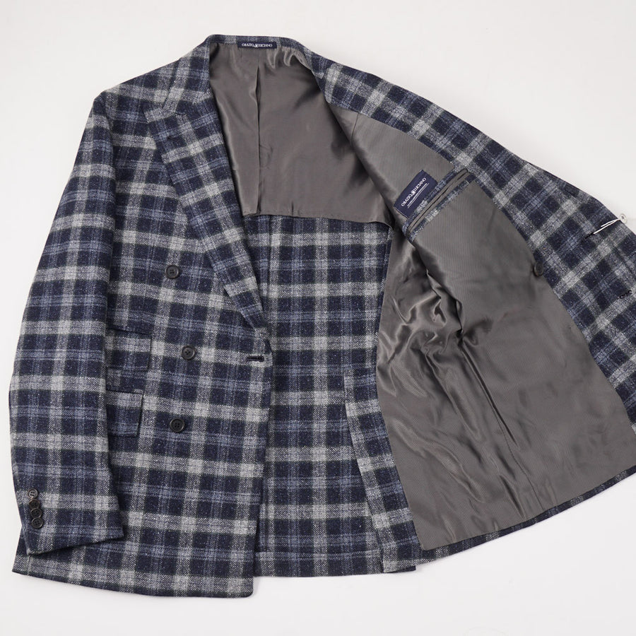 Orazio Luciano Wool-Silk Sport Coat in Blue Check