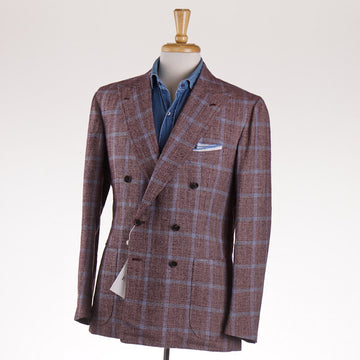 Orazio Luciano Silk-Linen Sport Coat in Burgundy Check