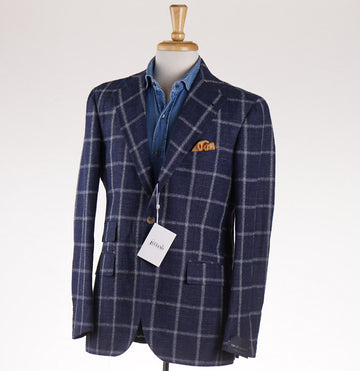 Orazio Luciano Linen and Silk Sport Coat in Navy Check