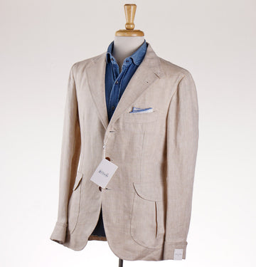 Orazio Luciano Norfolk Jacket in Beige Linen