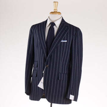Orazio Luciano Navy Stripe Fresco Wool Suit
