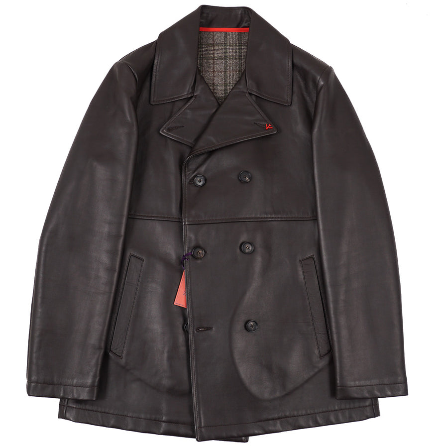Isaia Leather Pea Coat with Wool Lining