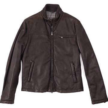 Cesare Attolini Flannel-Lined Leather Jacket