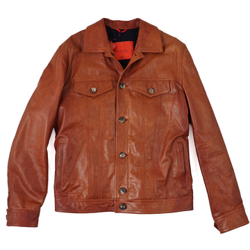 Isaia Leather Jacket with Knit Lining - Top Shelf Apparel