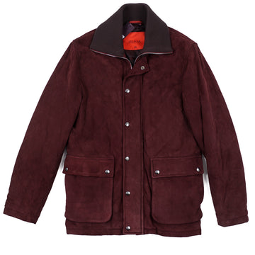 Isaia Quilted Suede Hunting Jacket