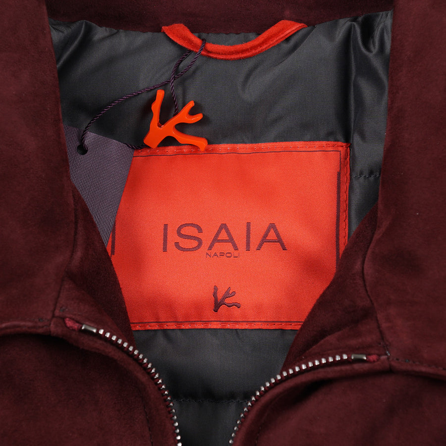 Isaia Down-Filled Suede Bomber Jacket