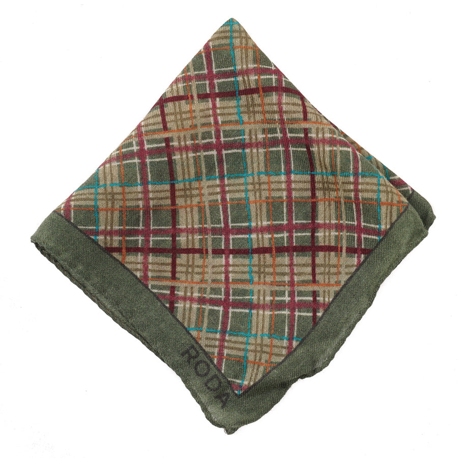 Roda Layered Check Wool Pocket Square
