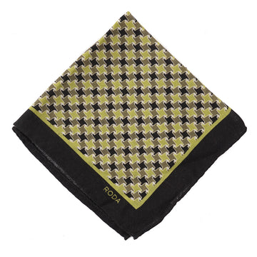 Roda Houndstooth Wool-Silk Pocket Square