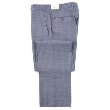 Luigi Bianchi Gray-Sky Blue Check Wool Pants
