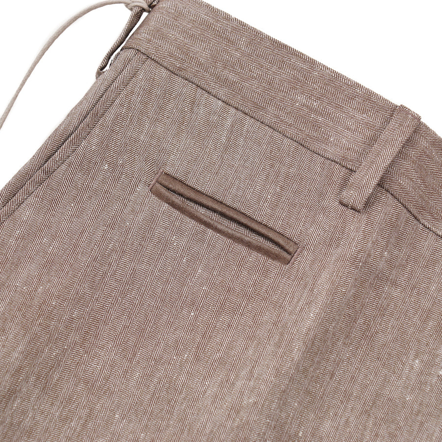 Brioni Linen-Blend Pants with Leather Details