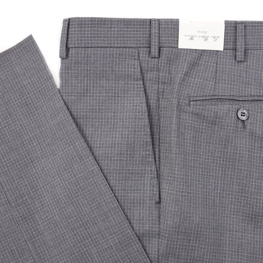 Luigi Bianchi Gray Mini Check Wool Pants
