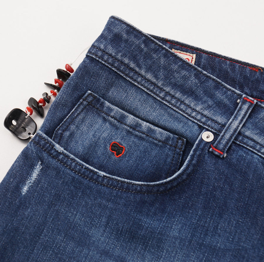 Marco Pescarolo Slim Jeans in Medium Blue Denim