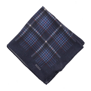 Roda Layered Check Print Wool Pocket Square