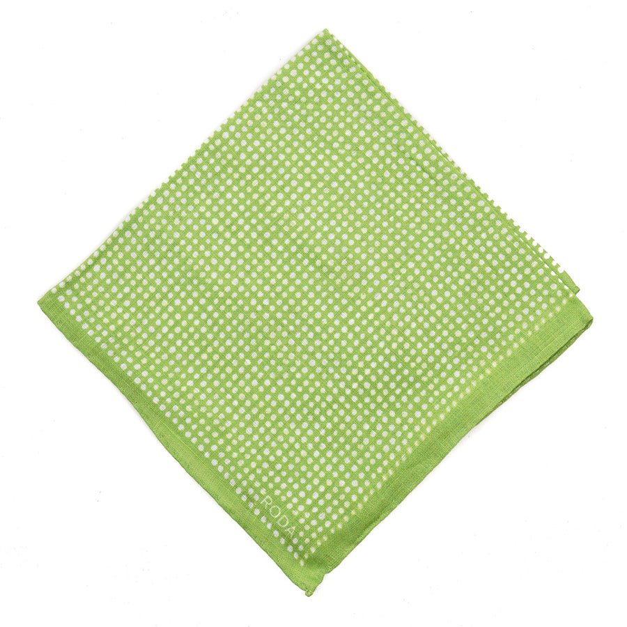 Roda Dot Print Linen Pocket Square
