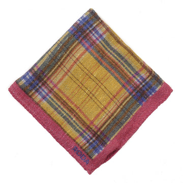 Roda Check Print Wool Pocket Square