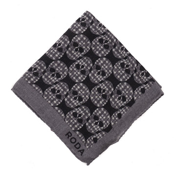 Roda Skull Print Wool Pocket Square