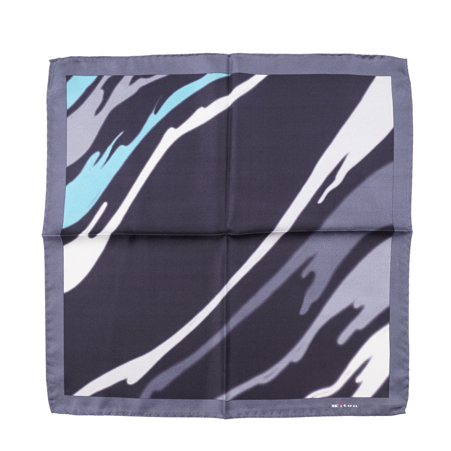 Kiton Watercolor Print Silk Pocket Square