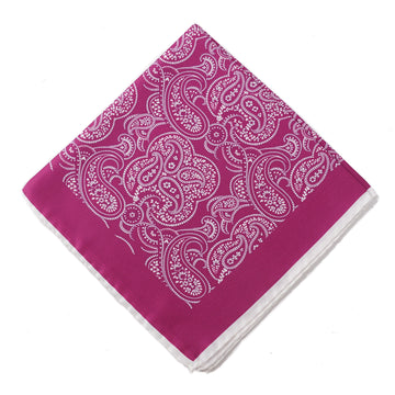 Kiton Paisley Print Silk Pocket Square
