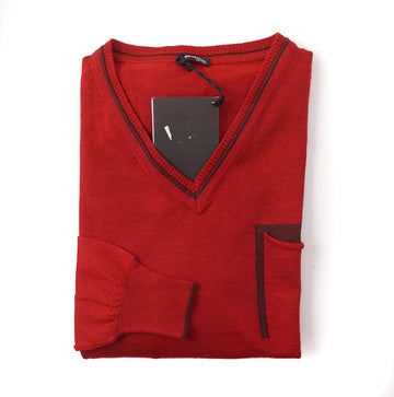 Kiton Lightweight Cashmere-Silk Sweater in Red